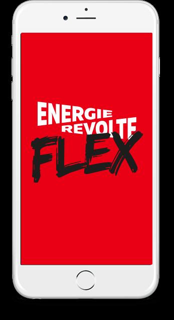 IPhone mit EnergieRevolte Flex Schriftzug