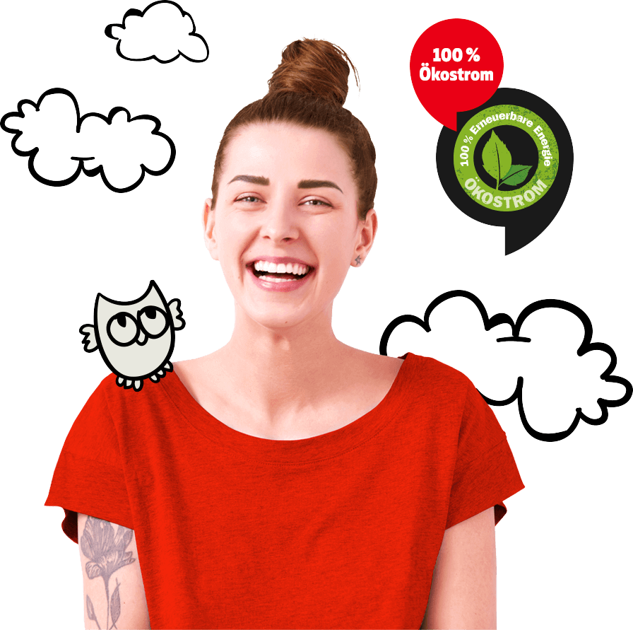 Frau mit rotem T-Shirt, 100 Prozent Ökostrom