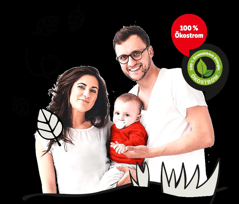 junge Familie, 100 % Ökostrom