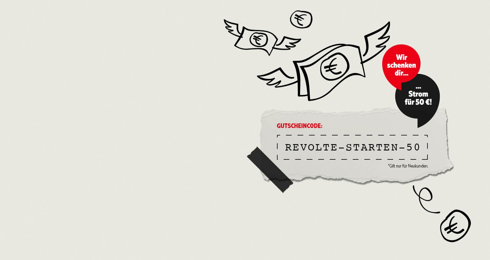 Fliegender Geldschein, Zettel mit Gutscheincode REVOLTE-STARTEN-50