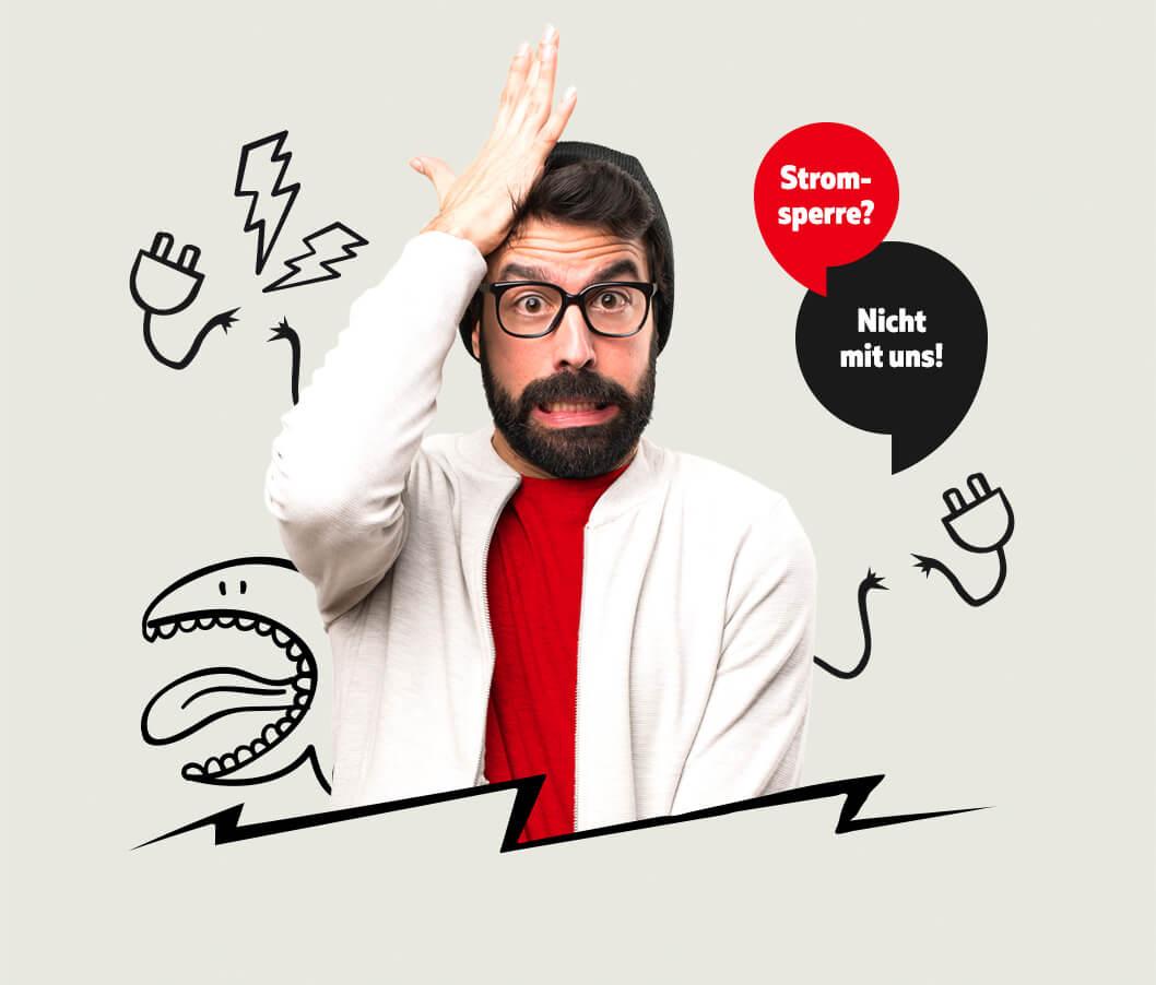 Mann mit Brille rauft sich die Haare. Stromsperre? Nicht mit uns!