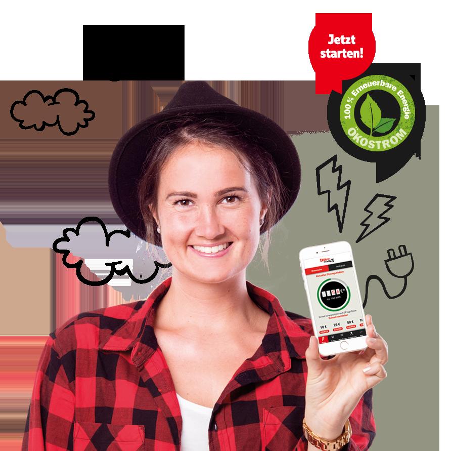 Mädchen mit Handy und EnergieRevolte App